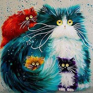 Cartoon cats diamond painting kit image
