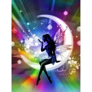 Fairy shadow sitting on a moon with a colourful background diamond painting kit