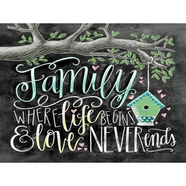 Family where life begins and love never ends diamond art saying
