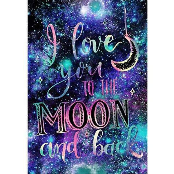 I love you to the moon and back saying diamond painting kit
