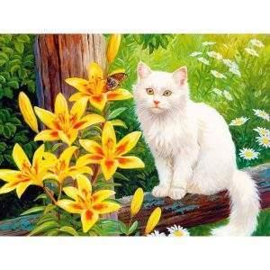 Cartoon white cat with yellow flowers diamond art kit