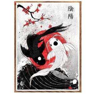 Black and white Japanese Koi Fish diamond painting kit
