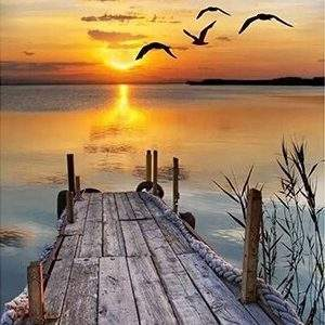 Dock on a lake at sunset 5D diamond painting kit