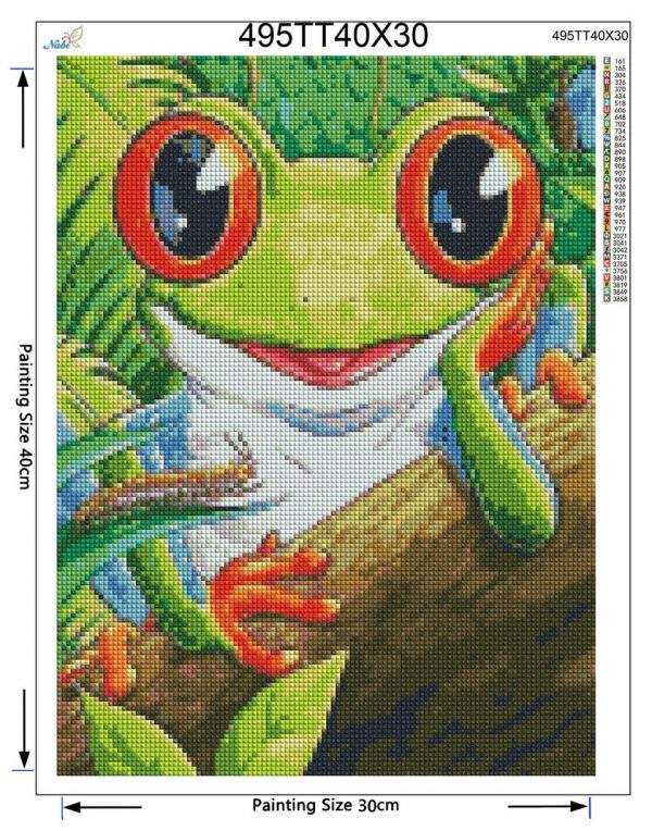 Green Cartoon Frog Diamond Art Kit for Beginners