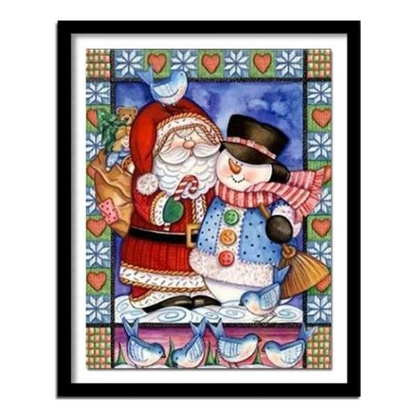 Santa and snowman cartoon diamond painting kit for Christmas