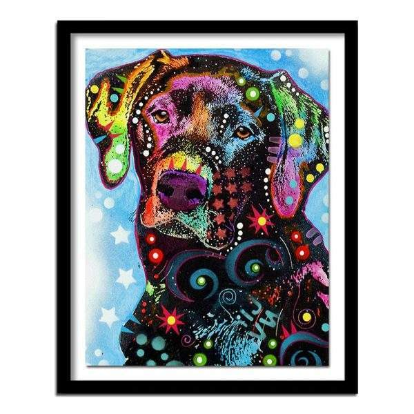 Colourful dog diamond painting kit