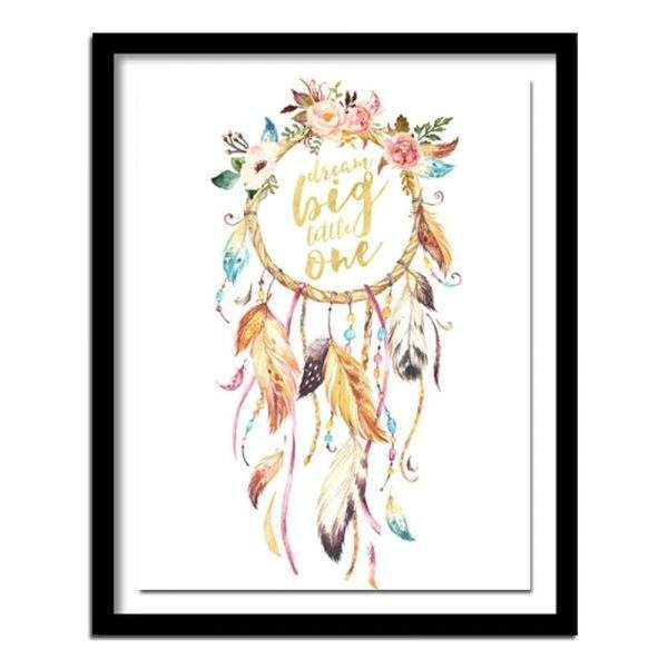 Dream Big Little One saying and dream catcher diamond art