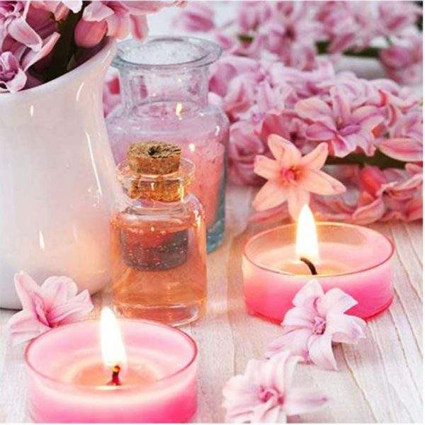 Spa flowers and candles diamond painting kit