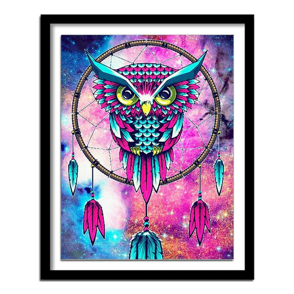 Blue and pink owl on a dream catcher diamond art kit