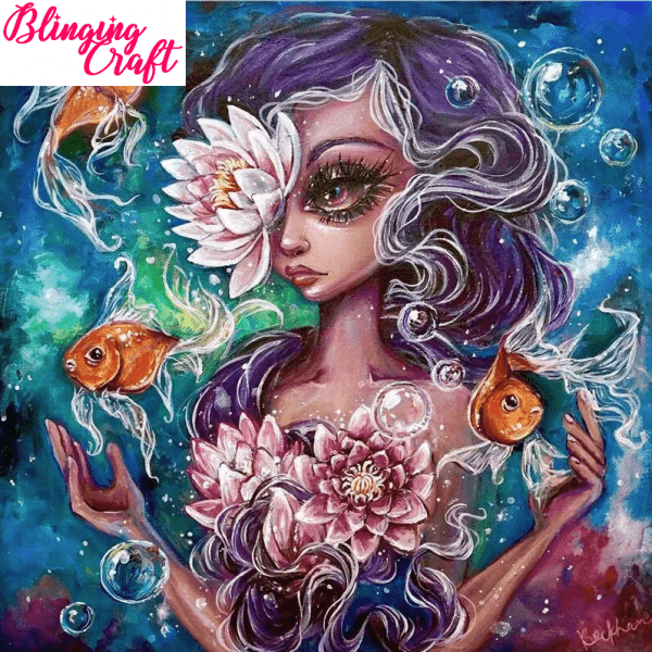 Water colour woman with goldfish diamond painting kit