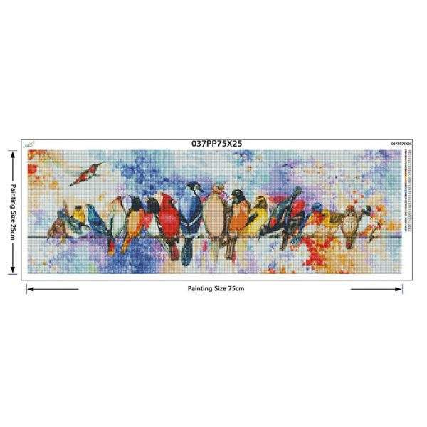 Different coloured birds on a wire diamond painting kit