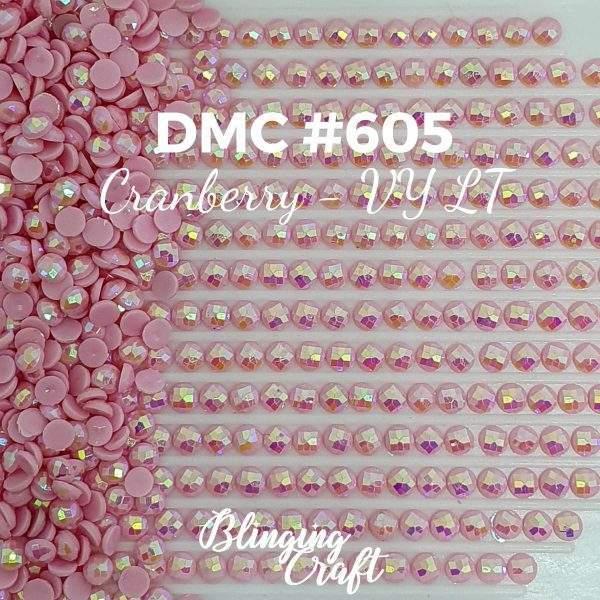 Blinging AB Round Drills DMC 605 Rows