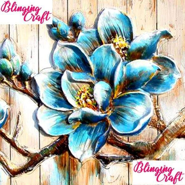 Blue Orchard Flower Diamond Art Kit