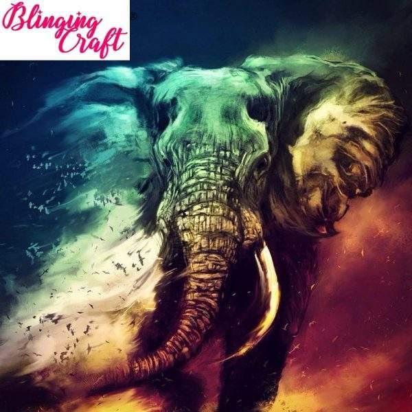Colourful Elephant Blowing Away Diamond Art Kit
