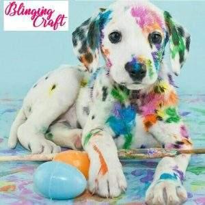Dalmatian puppy with paint splotches diamond painting kit