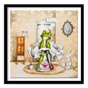 Frog sitting on the toilet cartoon diamond painting kit