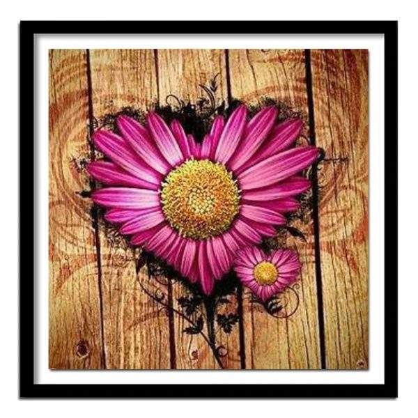 Pink Daisy Heart on a wood background diamond art kit