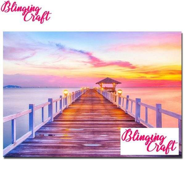 Sunset jetty diamond painting kit