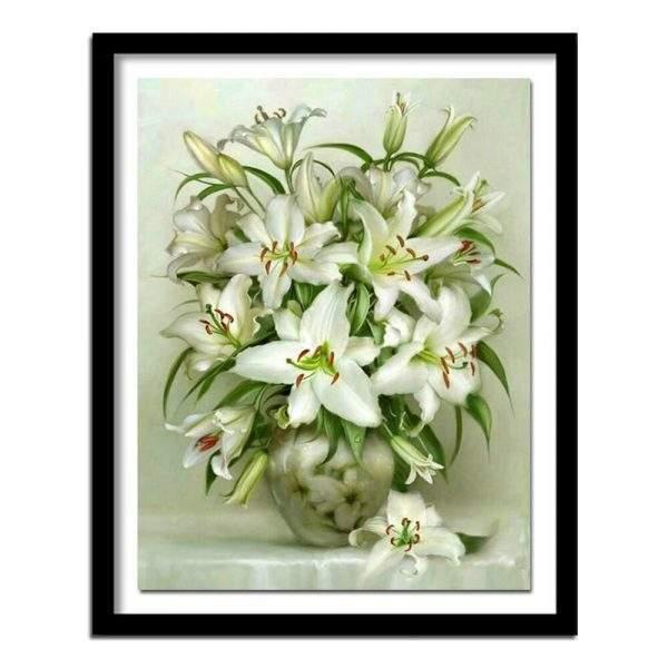 White Lily Flowers diamond art kit