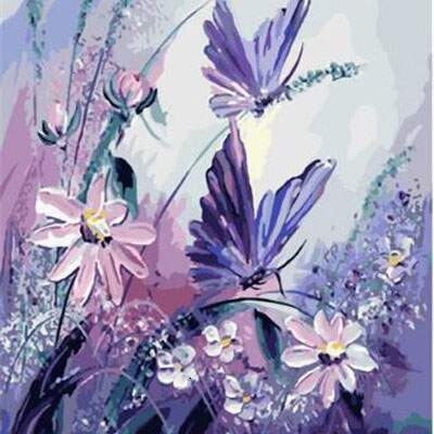 Purple Garden Butterflies Diamond Painting Kits