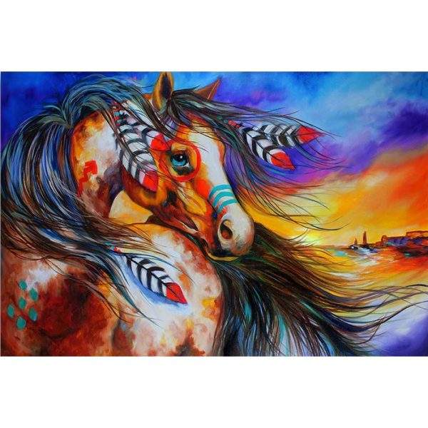 Water Colour Horse with Feathers