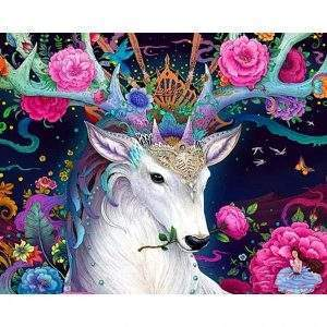 Deer with pink flowers diamond painting kit