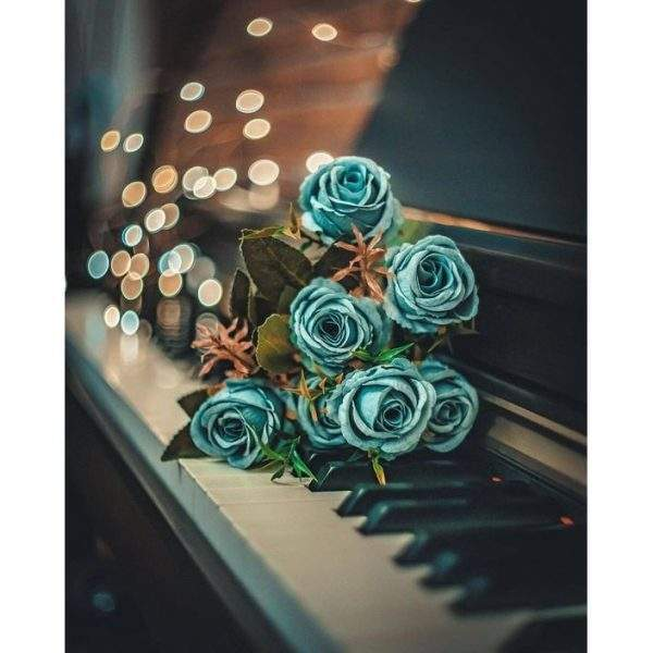 Blue Roses on a Piano diamond painting kit
