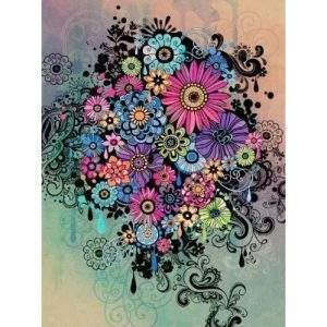 Colourful jumble of flowers diamond painting kit