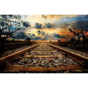Sunset Train Tracks Diamond Painting Kit