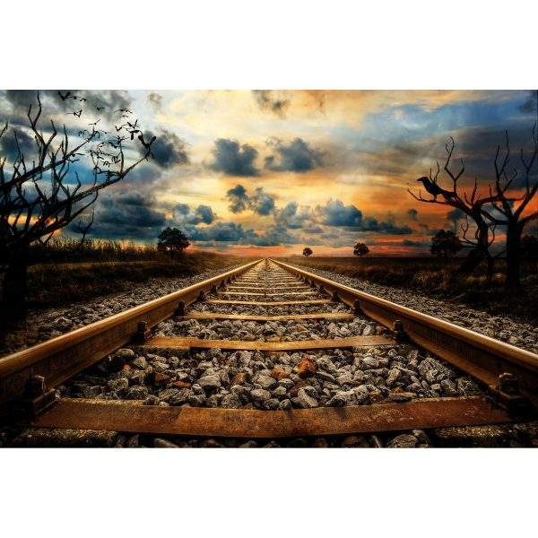 Sunset Train Tracks Diamond Painting Kit