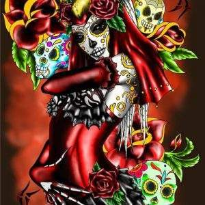 Woman in Red with mexian death mask diamond painting kit
