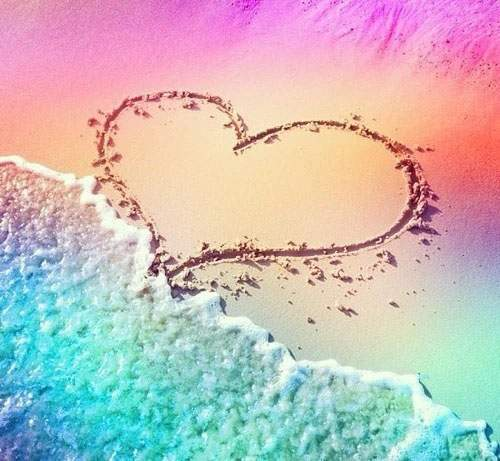 Rainbow Beach Heart Diamond Painting