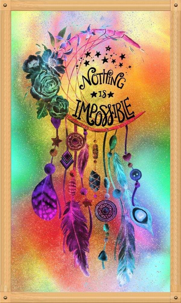 Nothing is impossible saying on a dreamcatcher diamond painting design