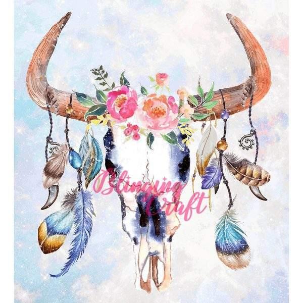 Boho Cow Skull Diamond Painting Kit