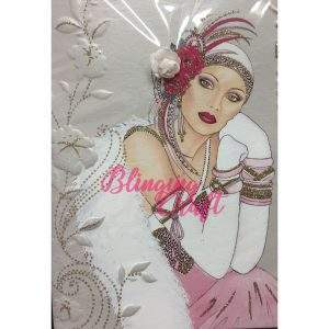 Pink Flapper Girl Art Deco Diamond Painting Kit
